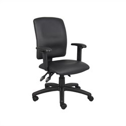 Multi Function Leather Task Chair in Black