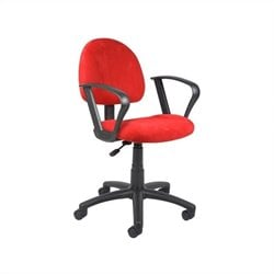 Microfiber Deluxe Posture Office Chair with Loop Arms in Red