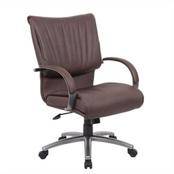 Mid Back Bomber Leather Plus Chair in Brown