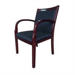 Guest Arm Office Chair in Black and Rich Mahogany