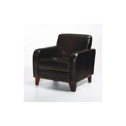 Armen Living Tatyana Leather Club Chair in Brown