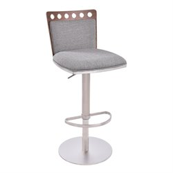 Armen Living Brooke Adjustable Bar Stool in Gray