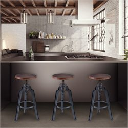 Armen Living Tribeca Adjustable Bar Stool in Industrial Grey