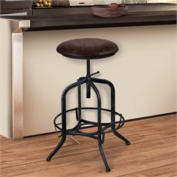 Armen Living Elena Adjustable Bar Stool in Industrial Grey