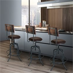 Armen Living Damian Adjustable Bar Stool in Industrial Grey