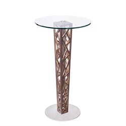 Armen Living Crystal Glass Top Bar Table in Walnut
