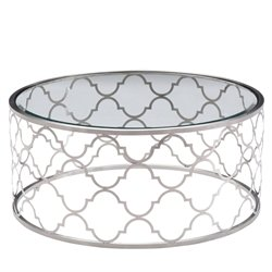 Armen Living Florence Round Glass Top Coffee Table in Brushed Silver