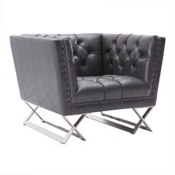 Armen Living Odyssey Faux Leather Chair in Vintage Black