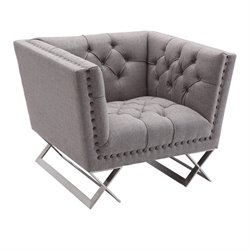 Armen Living Odyssey Chair in Gray Tweed