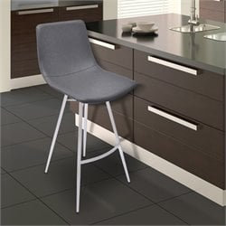 Athens Stool in Vintage Gray and Brushed Stainless Steel