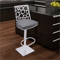 Armen Living Berlin Adjustable Swivel Bar Stool in Gray
