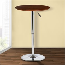 Armen Living Bentley Adjustable Pub Table in Walnut and Chrome