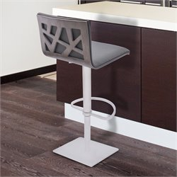 Armen Living Crystal Adjustable Swivel Bar Stool in Gray