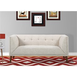 Armen Living Hudson Button-Tufted Loveseat in Beige