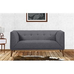 Armen Living Hudson Button-Tufted Loveseat in Dark Gray
