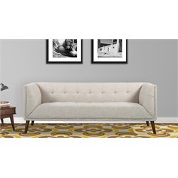 Armen Living Hudson Button-Tufted Sofa in Beige