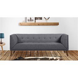 Armen Living Hudson Button-Tufted Sofa in Dark Gray