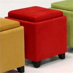 Armen Living Rainbow Micro Fiber Storage Ottoman in Red