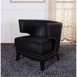Armen Living Eclipse Faux Leather Club Chair in Black