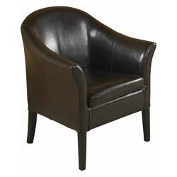 Armen Living Leather Club Barrel Chair in Brown