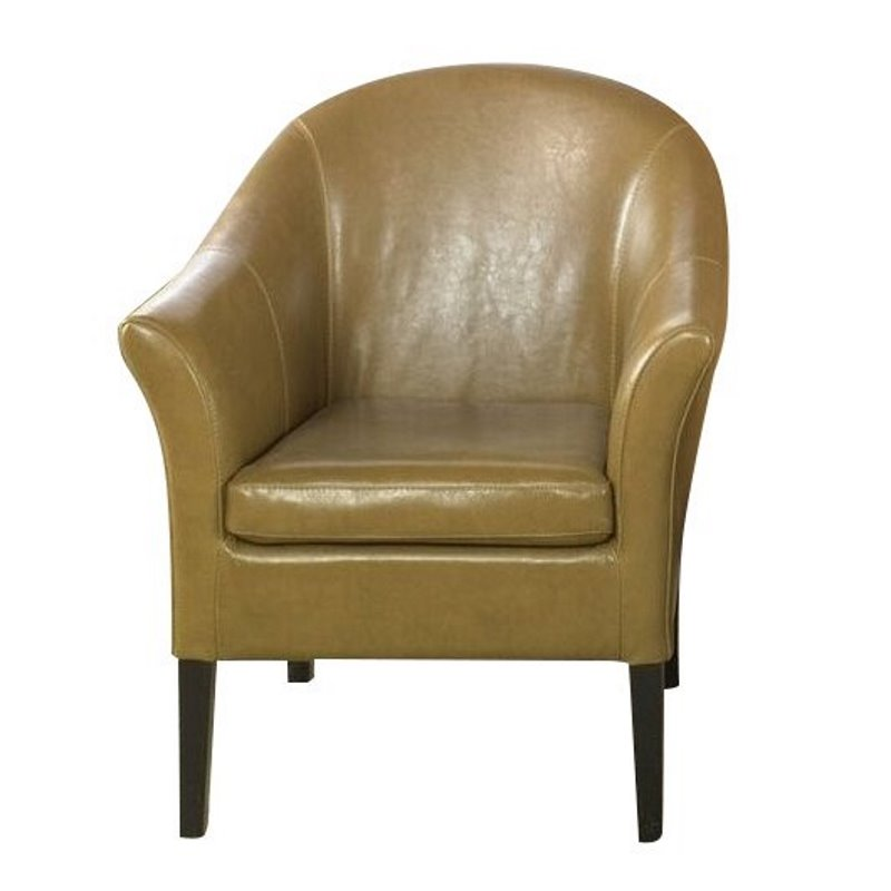 Armen Living Camel Leather Barrel Club Chair in tan