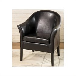 Armen Living Leather Club Barrel Chair in Black