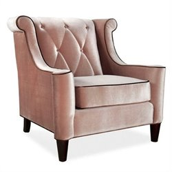 Armen Living Barrister Velvet Tufted Club Chair in Beige