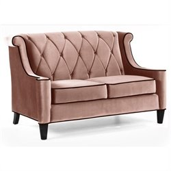 Armen Living Barrister Velvet Loveseat in Caramel