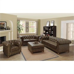 Armen Living Winston 3 Piece Vintage Leather Sofa Set in Mocha
