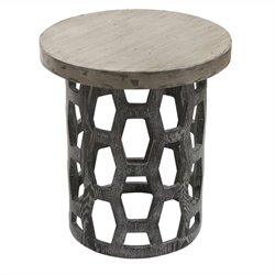 Armen Living Solid Wood Centennial End Table in Gray