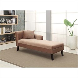 Armen Living Microfiber Patterson Chenille Chaise in Brown