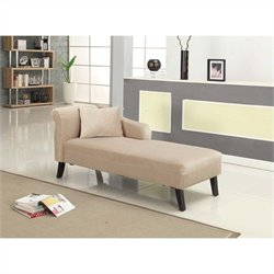 Armen Living Microfiber Patterson Chenille Chaise in Taupe