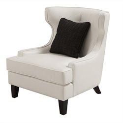 Armen Living Skyline Leather Accent Chair in White