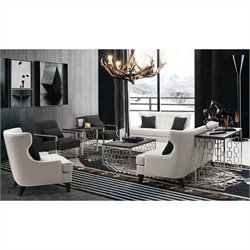 Armen Living Skyline 3 Piece Coffee Table Set in Charcoal