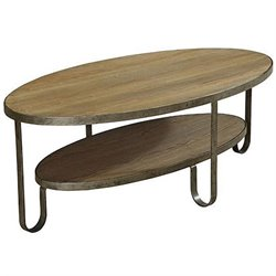 Armen Living Barstow Coffee Table in Natural and Gunmetal