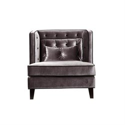 Armen Living Moulin Chair Velvet in Gray and Black Piping