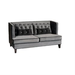 Armen Living Moulin Loveseat in Gray and Black Piping