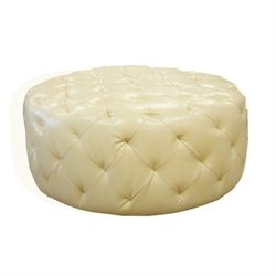 Armen Living Victoria Leather Ottoman in Ivory