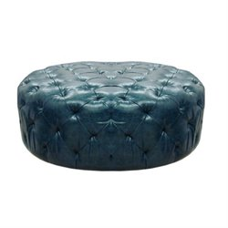 Armen Living Victoria Leather Ottoman in Ocean Blue