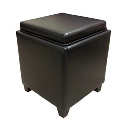 Armen Living Contemporary Storage Ottoman with Tray in Brown