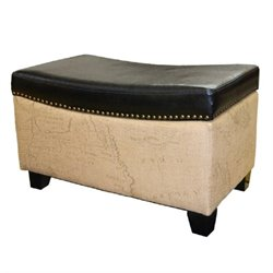 Armen Living Congo Leather Ottoman in Brown