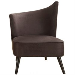 Armen Living Elegant Left Flaired Back Accent Chair in Black