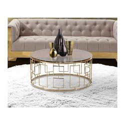 Armen Living Zinc Glass End Table in Gold