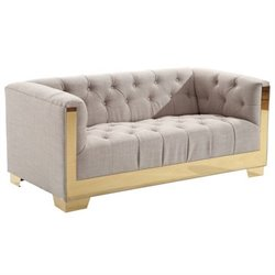 Armen Living Zinc Tweed Loveseat in Taupe and Gold