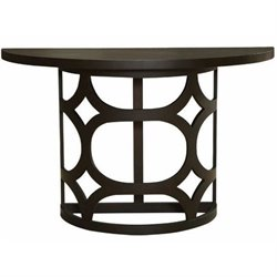 Armen Living Tuxedo Wood Demilune Console Table in Brown