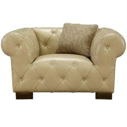 Armen Living Tuxedo Tufted Leather Accent Chair in Beige