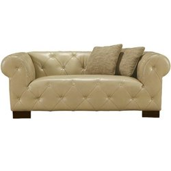 Armen Living Tuxedo Tufted Leather Loveseat in Beige