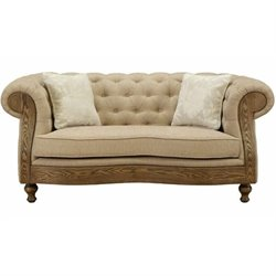 Armen Living Barstow Tufted Fabric Loveseat in Sand