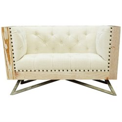 Armen Living Regis Tufted Fabric Accent Chair in Cream