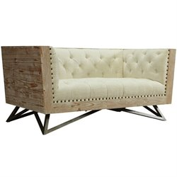 Armen Living Regis Tufted Fabric Loveseat in Cream